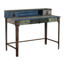 Powell - Powell Calypso Desk X-832-411 - The Calypso Collection combines an antique, weathered look with a warm, rustic, industrial feel. Its distressed look is trendy, popular and full of unique character. This desk embodies all these features with the weathered top and drawers, and has oversized copper finish metal legs with oversized hex bolts. Antique Bronze drawer hardware seamlessly completes the look. Some assembly required.