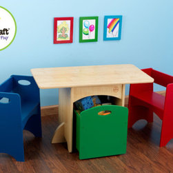 KidKraft - Kids' 4 Piece Table and Chair Set - KidKraft's new Table and Bench Storage Set is the perfect place for arts and crafts and board games and when not in use, the benches and storage bin fit neatly beneath the table making it the perfect space saving unit. Features: -Clever, space - saving design.-Cut outs on benches and storage bin simplify carrying.-Casters on storage bin for easy mobility.-Includes one rectangular table, two benches in red and blue and one green storage bin.-Durable, wood construction.-Distressed: No.-Seating Included: Yes.Dimensions: -Table Dimensions: 20'' H x 32'' W x 18'' D.-Bench Dimensions: 18.5'' H x 16'' W x 11'' D.-Trundle Dimensions: 15'' H x 16'' W x 13.25'' D.-Overall Product Weight: 54 lbs.