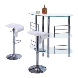 Global Furniture USA - MBT-02-FR + M215BS-WH White Glass & Acrylic Three Piece Bar Set - The MBT-02-BL + M215BS bar set is the ideal piece for entertainment while adding a touch of modern class to your decor. Crafted from chromed metal and glass this bar unit is a great addition for any modern decor. The bar features multiple levels made from white glass perfect for stocking bar essentials. Each stool has a unique wave like mold from acrylic and has a white color. The stools are height adjustable and have built-in footrests. The bar set shown includes one bar unit and two stools.