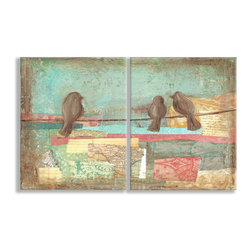 Stupell Industries - Birds on Wires Pastel Style Oversized Duo Wall Plaques - Treat your home to some style with one this decorative wooden wall plaques.    It is produced on sturdy half-inch thick MDF wood, and comes with a saw tooth hanger on the back for instant use.  The sides are hand finished and painted so a perfect crisp look.  MADE IN USA.