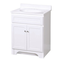"Foremost - Foremost COWAT2418 White Columbia Columbia Bathroom Vanity 24"" - Vanity Package Includes:Vanity cabinet constructed of hardwood materialNatural stone vanity / counter topSingle basin bathroom sinkVanity Cabinet Features:Constructed of hardwood materialVanity features 1 full sized cabinet with matching doors providing ample storage spaceThis model is a complete package - base and top are includedComplete with matching decorative hardwareVanity is crated and shipped fully assembledSolid construction and assembly provides years of reliable performanceVanity Top Features:Vanity top is constructed of natural stone provides a sturdy feel and clean appearanceTop features a recessed single basin bathroom sinkCenter drain location provides optimal draining capabilityVanity top is equipped with backsplash to help contain any messes to the counter topFaucet and waste assembly not included with this model - must be purchased separatelySturdy mounting assembly – ensuring safety and reliabilityAll hardware needed for installation is includedVanity Cabinet Specifications:Overall Height: 36-1/4"" (measured from ground level to highest point on vanity)Overall Width: 25"" (measured from left most to right most part on vanity)Overall Depth: 19"" (measured from back most to front most part on vanity)Mounting Style: FreestandingNumber of Drawers: 0Number of Doors: 2Number of Shelves: 0Vanity Top Specifications: Overall Width: 25"" (measured from left edge to right edge of vanity top)Overall Depth: 19"" (measured from back edge to front edge of vanity top)Sink Included: YesDrain Outlet Connection: 1-1/2"""