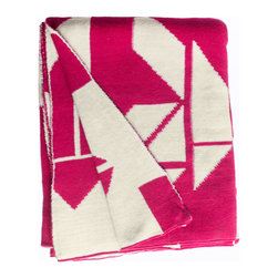 Fab Habitat - Fab Habitat Throws - Santa Cruz-Beetroot & Natural - Fab Habitat features knitted cotton throws in vivid colors and patterns. From our renowned Metro collection, these throws are certain to keep you warm from the cold of winter and add a perfect accent to your sofa or bed.