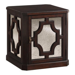 Lexington - Lexington Kensington Place Benedict Mirrored Lamp Table - This sophisticated lamp table features a wooden top with faceted corners, antique mirror overlaid with wood fretwork on all four sides, as well as a door that opens to reveal one shelf for storage.
