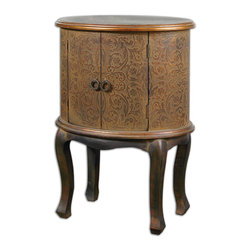 Uttermost - Ascencion Storage Accent Table - Who doesn't need more storage? Especially if comes in an attractive package. Your space will welcome this old-world, Jacobean-inspired accent table. Beautiful doesn't have to mean unpractical.