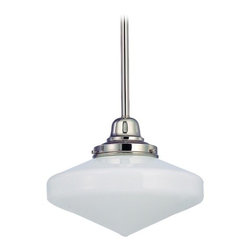 Design Classics Lighting - 10-Inch Schoolhouse Mini-Pendant light with Opal White Glass - FB4-15 / GE10 - Polished nickel finish mini-pendant light with Glenfair schoolhouse opal white glass. Includes three 12-inch and one six-inch stem segments to allow for flexibility in height adjustment from a minimum of 17-1/2-inches to a maximum height of 53-1/2-inches. Takes (1) 150-watt incandescent A21 bulb(s). Bulb(s) sold separately. UL listed. Dry location rated.