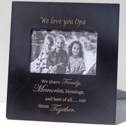 Havoc Gifts - 'We Love You Opa' Verse Frame - Engraved lettering gives this timeless frame an understated sophistication that's sure to make precious moments and professionally shot photos shine. It comes ready to display with an easel back and simple sawtooth hanger.   9.5'' W x 10.25'' H x 0.5'' D Holds 4'' x 6'' photo Wood / glass / paper Easel back / sawtooth hanger Imported