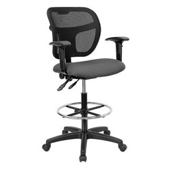 Flash Furniture - Flash Furniture Mid-Back Mesh Drafting Stool in Gray - Flash Furniture - Drafting Chairs - WLA7671SYGGYADGG - Drafting Stools can be used in a multitude of environments including School Work and for the Home. Drafting stools makes it easier for the user when they need or prefer more height to comfortably get in and out of chairs. The breathable mesh back keeps you cool when sitting for long periods of time. The firm comfortably padded seat will keep you at ease during work or while leisurely browsing. [WL-A7671SYG-GY-AD-GG]