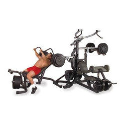 Body-Solid Freeweight Leverage Commercial Gym Package - Versatile machine can perform up to 40 different exercises including various presses pec fly pulldowns row shrugs curls squats lunges and moreExtra-strong 3x3-inch 10- and 11-gauge steel mainframe with durable welded construction and thick reinforcement platesElectrostatically applied powder-coated finish is easy to clean and designed to resist chipping scratching and corrosionCommercial-grade pillow block and sealed ball bearings provide exceptionally precise movement and friction-free performance without playSafety guards throughout to prevent pinning under heavy weight and eliminate the need for a spotterFeatures exclusive DuraFirm high-density foam pads that are extra-thick comfortable and tear-resistantEach station is adjustable to provide proper positioning beneficial pre-stretch and full range of motion for every userPivot points ensure fluid ergonomic movementDesigned for use with Olympic-style plates onlyWeighs 705 poundsPlease note that some assembly is requiredManufacturer's warranty included: see complete details in the Product Guarantee areaAbout Body-SolidBody-Solid has been making high quality strength training and exercise equipment for over 20 years. Designed for today's workouts Body-Solid machines feature innovative technology and distinctive styling that suits your home. Body-Solid equipment meets the challenges of today's busy lifestyle while providing you with the utmost in advanced home exercise. From space-saving designs that suit any room to full-sized gym systems with every available station Body-Solid gives you the features you want at a price you can afford. All components of all machines are covered by a lifetime manufacturer's warranty; something you won't find from any other manufacturer in the industry.