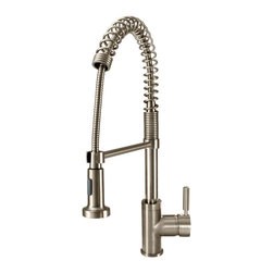 MR Direct - MR Direct 766 Spring Spout Faucet , Brushed Nickel - The 766 Spring Spout Faucet offers the appearance and functionality of a commercial-style design. Styled after models found in the kitchens of the finest restaurants, this faucet will give your kitchen an air of professionalism. With the touch of a button, its steady stream of water can be turned into a powerful spray to rinse or fill previously unwieldy cookware. The 766 is available in either a brushed nickel or chrome finish.