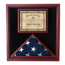 Flags Connections - Flag / Medal Display Case - Shadow Box - This beautiful Cherry Medal and Flag Display Case features a glass front with black lining on the inside and is finished with a beautiful cherry finish for an elegant touch.