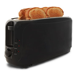 None - 4-slice Long Slot Cool Touch Toaster - Start your day off right by treating yourself to a great breakfast made with this unique 4-slice Long Slot Cool Touch Toaster,which accommodates up to four slices of bread and specialty breads that can't normally be used in a regular toaster.