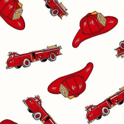 """SheetWorld - SheetWorld Fitted Crib / Toddler Sheet - Fire Engines - Made in USA - This luxurious 100% cotton """"woven"""" crib / toddler sheet features a fire engine print. Our sheets are made of the highest quality fabric that's measured at a 280 tc. That means these sheets are soft and durable. Sheets are made with deep pockets and are elasticized around the entire edge which prevents it from slipping off the mattress, thereby keeping your baby safe. These sheets are so durable that they will last all through your baby's growing years. We're called SheetWorld because we produce the highest grade sheets on the market today. Size: 28 x 52."""
