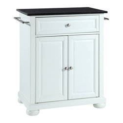 Crosley - Alexandria Solid Black Granite Top Portable Kitchen Island in White Finish - Constructed of solid hardwood and wood veneers, this kitchen island is designed for longevity. The beautiful raised panel doors and drawer front provide the ultimate in style to dress up your kitchen. The deep drawer are great for anything from utensils to storage containers. Behind the two doors, you will find an adjustable shelf and an abundance of storage space for things that you prefer to be out of sight. Style, function, and quality make this kitchen island a wise addition to your home.