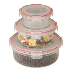 Cookpro - 6-Piece Lock and Seal Container Set With Round Lids - You're looking fresh and tight, in your food-grade plastic with your matching, locking, airtight lids. You're nearly too good looking to keep in the cabinet and almost hotter than that microwave you just came out of. And you can nest together to save on space? Baby, you can take all the space you need.
