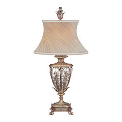 Fine Art Lamps - Winter Palace Table Lamp, 301610ST - Inspired by the fantastic, glass-enclosed garden of the Winter Palace in St. Petersburg, this regal table lamp is full of exquisite details, from the tiny claw feet to the swirled silk shade and elaborate leafy finial. Made from steel with a warm antique silver finish, the base design features leaves of brilliant, icicle-cut crystals.