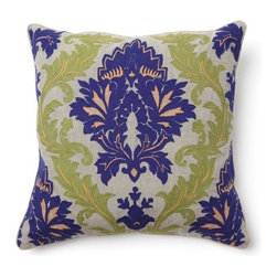 "Villa Home - Full Bloom Amalfi Embroidered Pillow in Blue and Green - Features: -Color: Blue and green. -Pillow cover material: 100% Linen. -Pillow insert material: 95% Feather / 5% down - 100% cotton cover. -Embroidered front. -Dimensions: 18"" W x 18"" D, 1 lb."