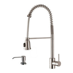 Ruvati - Ruvati RVF1215K1ST Commercial Style Pullout Spray Kitchen Faucet with Soap Dispe - This premium Ruvati kitchen faucet from the Cascada collection is constructed of solid brass giving it exceptional durability. The ceramic disc cartridge ensures drip-free functionality. The faucet can be installed into countertops up to two inches thick. Hot and cold water connection hoses are included.