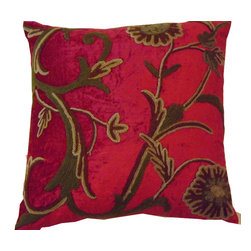 Crewel Fabric World - Crewel Pillow Sham Curve Bright Red Cotton Viscose Velvet 16x16 Inches - Artisans in a remote mountain village in Kashmir crewel stitch these blossoms, vines and leaves by hand, resulting in a lush pattern of richly shaded wool yarns on Linen, Cotton, Velvet, Silk Organza, Jute. Also backed in natural linen, Cotton, Velvet Silk Organza, Jute with a hidden zipper.