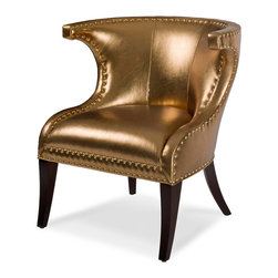 Flirt Chair - If you're looking for some glamour, here you go! I love the gold/copper pearly fabric on this chair. I have a similar chair in my own home, but it's white leather. If I were a bachelorette though, I'd totally consider swapping it out for this one.