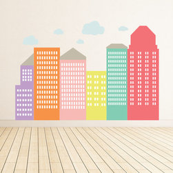 The Lovely Wall Co - City - Girls - removable wall decal - Large wall scape decal
