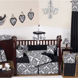Sweet Jojo Designs - Isabella Black and White Collection 9pc Crib Bedding Set - Isabella 9 piece Crib Bedding set has all that your little bundle of joy will need. Let the little one in your home settle down to sleep in this incredible nursery set. Features: -Set includes crib comforter blanket, bumper, fitted crib sheet, crib skirt, 2 window valances, diaper stacker, toy bag and pillow. -Isabella collection. -Uses the stylish color pallete of rich black and crisp white. -Material: 100% Cotton fabrics combined with soft chenille fabric. -Gorgeous damask print and ultra soft minky swirl chenille. -Coordinating accessories including sheets, wall dcor, window treatments and more. -Fit all cribs and toddler beds. -Machine washable and dryable.