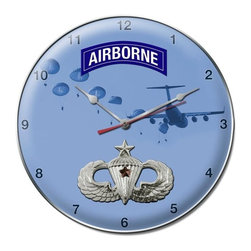 Combat Expert Jump Wings Metal Sign Wall Decor 14 x 14 Clock - Combat Expert Jump Wings Metal Sign Wall Decor From the Altogether American licensed collection, this Combat Expert Jump Wings Clock measures 14 inches by 14 inches and weighs in at 3 lb(s). This Clock is hand made in the USA using heavy gauge american steel and a process known as sublimation, where the image is baked into a powder coating for a durable and long lasting finish. This Clock includes an American made quartz Clock movement (requires one AA battery) for years of accurate time keeping and is covered with a clear acrylic lens.