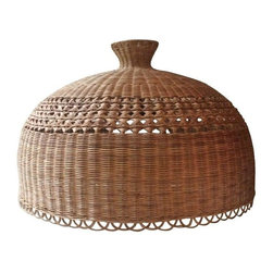Pre-owned Hanging Wicker Lamp - Bring some natural elements indoors with this oversized wicker shade with a cane style band and scalloped edge details. It has a white glass interior bulb cover, and is in excellent vintage condition.