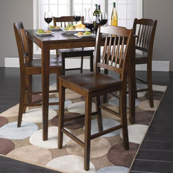 Donnie Counter Height Dining Table and 4 Chairs - Beautiful and warm, the Donnie Counter Height Dining Table with Chairs set boasts a remarkable transitional looks and a warm Walnut wood finish. Manufactured by ACME.