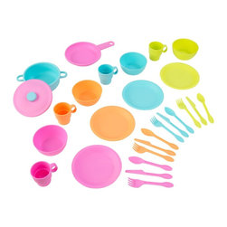 KidKraft - 27 Piece Bright Cookware Set by Kidkraft - Our 27-Piece Bright Cookware Set helps kids cook up all sorts of fun. Features included. No assembly required27 total pieces  four knives, four spoons, four forks, four plates, four cups, four bowls, one pot, one pan, one lid. Goes great with any KidKraft kitchen.