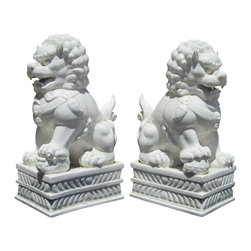 Golden Lotus - Pair Chinese High Quality White Porcelain Fen Shui Lucky Foo Dogs - This is a beautiful pair of white porcelain foo dog which is standing on a carving stool.. The male foo dog has an embroidered ball under its paw and the female has a baby foo dog. Its carving is very detail, even their paws, bodies, and face.