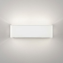 Leucos - Block Wall Sconce - Block Wall Sconce features a blown glass in gloss white or platinum with white scribble pattern. Finish available in polished chrome. 60 watt, 120 volt, JCD Type G9 base halogen lamps are included. General light distribution. UL listed. ADA Compliant. Small: 5.5 inch width x 4.4 inch height x 3.5 inch depth. Large: 11.5 inch wide x 4.4 inch height x 3.5 inch depth.