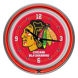 Trademark Global - Trademark Global 14 in. Chicago Blackhawks NHL Neon Wall Clock NHL1400-CBH - Shop for Wall Decor at The Home Depot. This retro neon clock comes with two neon rings a bright white neon on the inside to light up the exclusive graphic and a vibrant neon ring on the outside. The high gloss chrome molded clock case adds to the brilliant shine of the neon. Make a spectacular addition to your kitchen, den or game room with this amazing clock.