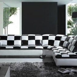 Colorful Sofas - Modern Black and White Checkered Leather Sectional Sofa