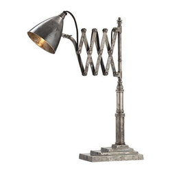 Arteriors Home - Arteriors Home Fraiser Antique Silver Adjustable Desk Lamp - Arteriors Home 4636 - Warning: this antique silver finished desk lamp means business. Everything about it shows the attention to detail from the carefully stepped base, to the scissor action arm, to the adjustable head. It's just what you need on your desk or table to show who's boss.