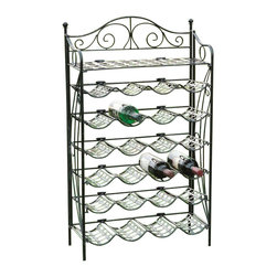 International Caravan - International Caravan Mandalay 24 Bottle Wrought Iron Wine Rack - International Caravan - Wine Racks - 3462HDVG - The International Caravan Mandalay Wine Rack is made from premium wrought iron and can be used for outdoor and indoor areas. It is available in multiple finishes with all weather resistant UV light fading protection. It holds 24 standard size wine bottles perfect for patios indoor and outdoor bar areas and kitchens.