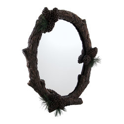 Zeckos - Large Pine Cone Wood Look Frame Rustic Style Oval Wall Mirror - Resembling a mirror you'd see in a rustic lodge or inn, this mirror is sure to be the best looking one on the wall A stylized cast resin branch with pine cone and pine needle accents create the unique frame surrounding a mirrored glass piece for a stunning 22 inch high, 17 inch long, 2.5 inch deep (56 X 43 X 6 cm) display on any wall in your home Reflect on days spent hunting or exploring the wild, peer at your own reflection, or use it as a creative decorative focal point. It easily mounts to the wall using the attached keyhole hanger on the back, and looks amazing with 'outdoorsy' decor This oval pine cone framed mirror makes an incredible housewarming gift any outdoor enthusiast would be proud to hang on their wall