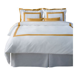 LaCozi - LaCozi Mustard & White Duvet Cover Set - Dream weaver: This magnificent duvet cover set is woven with 1,100-thread count cotton for a luxury only a five-star resort can duplicate. Each set is hand sewn with a brilliant color of your choice against crisp white.
