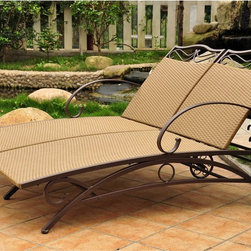 International Caravan - International Caravan Valencia Resin Wicker/ Steel Frame Multi-position Double C - Lounge in comfort and style with this elegant flat-woven Valencia resin wicker. Create the perfect lounging space near your pool or in any outdoor area with this weather-resistant chaise lounge. It has an adjustable back angle for extra support.
