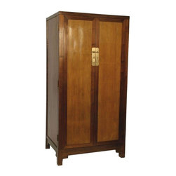 Used Elm and Split Bamboo Cabinet - A contemporary Asian style armoire cabinet. The cabinet features elmwood, split bamboo, brass finish hardware, and three interior shelves with drawers. This piece has an understated, stylish design that allows it to fit in with any style from traditional to modern.
