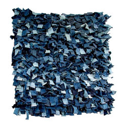 EcoFirstArt - Japanese Indigo Futon Rug - You'll feel inspired to really cut a rug on this shredded floor piece, crafted artfully from repurposed futons. Let this piece dance on your floor or on your wall, adding movement and indigo intrigue to any room in the house.
