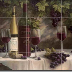 "Artwork On Tile - Ceramic Tile Mural Backsplash Chiu Wine Grape Art 21.25"" x 17"" - EC-TC007 - * 21.25"" w x 17"" h x .25"" Ceramic Tile Mural on Architectural Grade, 4.25"" Tile w/Satin Finish"