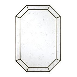 Donnabella Mirror - This gorgeous Art Deco-inspired mirror has the added detail of a thick, beveled, mirrored frame, which is a lovely bonus that is not too fussy! This shape, reflecting light, can practically take the place of a It would look smashing over a powder room sink or a mantle, whether you decide to hang it vertically or horizontally.