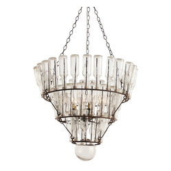 Arteriors - Stedman Chandelier, Clear - Bottoms up for great style! This incredibly cool chandelier, made of iron with a rust finish, features three tiers of vintage glass bottles. It's the perfect way to display your quirky style in a new light.