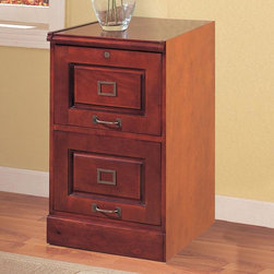 Coaster - Cherry Traditional File Cabinet - Cherry finish file cabinet with locking drawers and antiqued brass finish hardware.