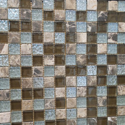 """GL STONE - Random Multicolor stone and Glass Square Pattern Mosaic Tile,1 Carton 11 Sheets - A unique checkerboard decor of tumbled Emperador dark, and metallic glazed finish glass 1 x 1"""" mosaic tiles. This mosaic tile contains stone and glass material, which is the great design for the interior decor. Glossy finished glass mix emperador stone create an unique mosaic tile. Each piece fits into the next like a perfect puzzle. This mosaic tile will bring warmth and a natural ambiance to your home. It also looks great in large spaces or smaller areas like a kitchen backsplash, bathroom wall, etc."""