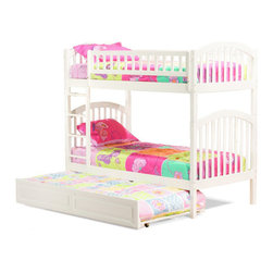 Atlantic Furniture - Richmond Twin Over Twin Bunk Bed / Raised Panel Trundle, White - If you want choose your bunk bed based primarily on looks, the Richmond Twin over Twin Bunk Bed with Raised Panel Trundle Bed by Atlantic Furniture will also have you covered. The arch and slat design in subtle, classy, and flexible enough to mesh with any of your kids room design preferences. The stain is a classic maple, and its luxuriant and deep color can make any room look better. It features thin dowels and high arches with square posts. This elegant mission style bed is accented by a stylish ladder/safety rail combination and is sure to be the ideal choice when decorating a child's room. This bunk bed is made of solid hardwood mortise and tenon construction.