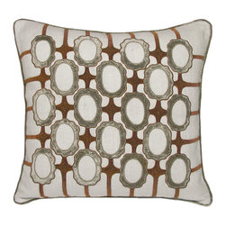 Kevin O'Brien Studio - Frames Linen Pillow, Taupe - Traditional cameo shaped medallions are laced together with a fretwork of metallic embroidery. Every part of this pattern is handmade with either embroidery or applique. Made in India and designed by us in our Philadelphia studio; design on front only; zip closure; comes with a feather/down insert