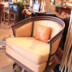 Palm Wood Swivel Chair - This would be a beautiful addition to a sun room or a hacienda or mediterranean style home.