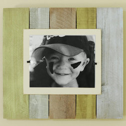 """Islander Reclaimed Wood Frame - Now available in an Islander style color wash - our extra large frames (22"""" x 22"""") crafted of weathered and painted wood have a cream colored interior frame to feature an 8"""" x 10"""" photo. Easy front loading, clamping system under Plexiglas makes photo updates a breeze."""