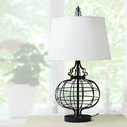 North Country Iron and Flax Shade Table Lamp -